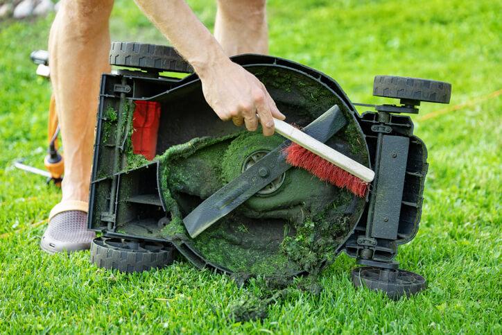 Die Reinigung eines elektrischen oder Akku-Rasenmähers